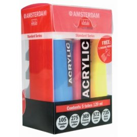 TALENS SET 5X AMSTERDAM ACRYLVERF TUBE 120 ML ASSORTI