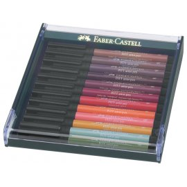 Faber Castell Pitt Artist Pen Brush set 12 stuks Earth Tones